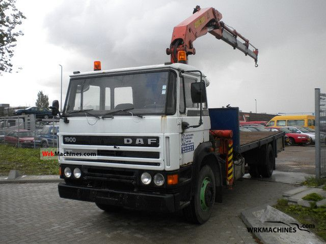 1987 DAF F 1900 1900 Truck over 7.5t Truck-mounted crane photo